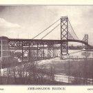 Ambassador Bridge Connecting Canada and U.S. in Detroit Michigan MI Vintage Postcard - 3939