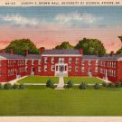 Joseph E Brown Hall at University of Georgia in Athens GA, Linen Postcard - 3962