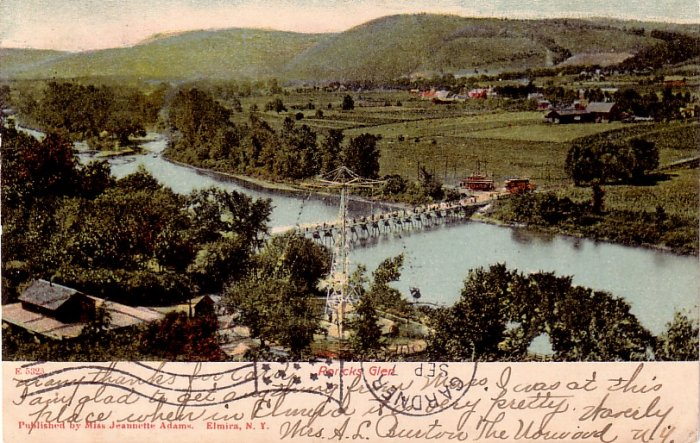 Roricks Glen Showing the Older Bridge in Elmira New York NY, Vintage Postcard - 3990
