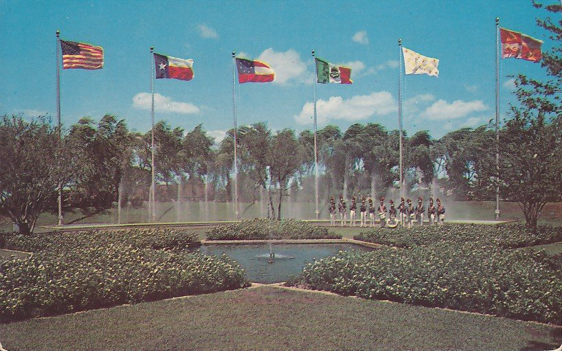 Star Mall and Dancing Waters at Six Flags Dallas Texas TX Postcard - 5272