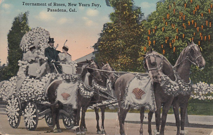Tournament of Roses on New Years Day, Pasadena California CA Vintage Postcard - 5282
