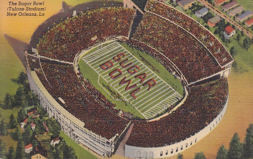 Sugar Bowl, Tulane Stadium New Orleans, Louisiana LA 1940 Linen Postcard - 5283