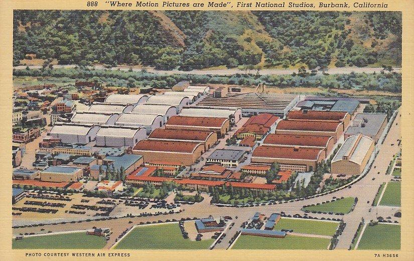 First National Studios in Burbank California CA 1937 Linen Postcard - 5286