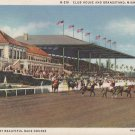 Miami Jockey Club Club House and Grandstand, 1933 Florida FL Curt Teich Linen Postcard - 5294
