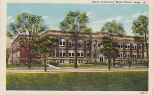 Pekin Community High School in Illinois IL, 1938 Linen Postcard - 5303