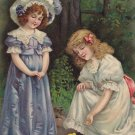 Girls with Chicks, Artist Signed Eva Hollyer 1909 Vintage Postcard - 5346