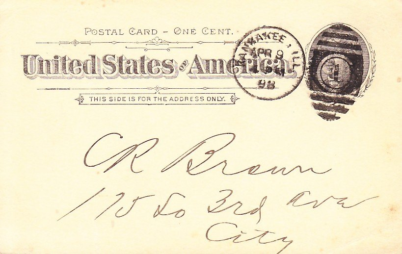Illinois Central Railroad Company Freight Office 1898 Postal Card - 5356