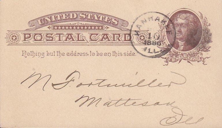Risser & Warden Illinois IL Grain Dealers Freight Bill Receipt, 1886 Postal Card - 5359
