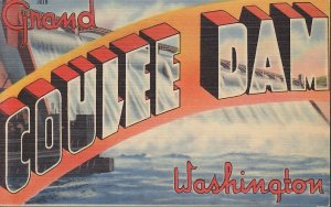 Grand Coulee Dam Washington WA, Large Letter Linen Postcard - 5368