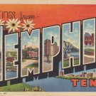 Greetings from Memphis Tennessee TN, 1939 Curt Teich Large Letter Linen Postcard - 5373
