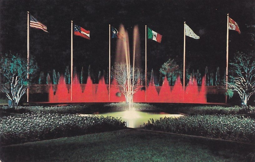 Colorful Dancing Waters Night View at Six Flags Dallas Texas TX Postcard - 5375