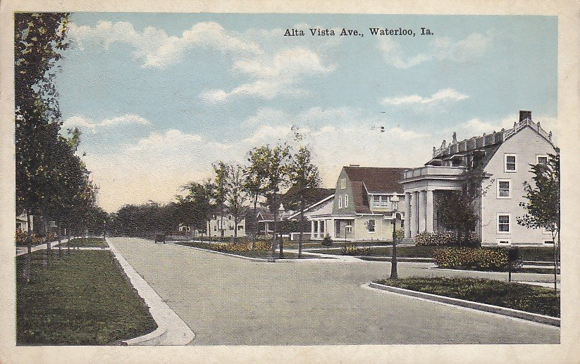 Alta Vista Ave in Waterloo Iowa IA, 1920 Vintage Postcard - 5379