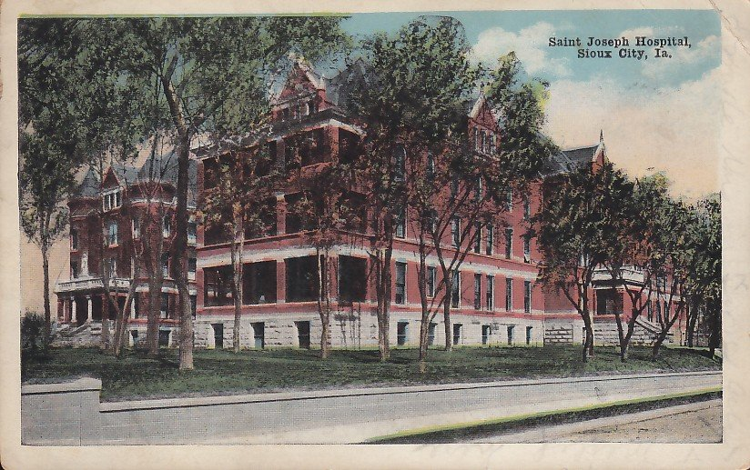 Saint joseph hospital in sioux city iowa ia 1920 vintage for Craft stores in sioux city iowa