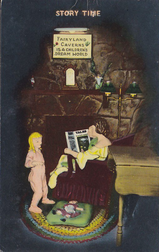 Story Time in Fairyland Caverns in Rock City Gardens Tennessee TN, 1953 Chrome Postcard 0 5404