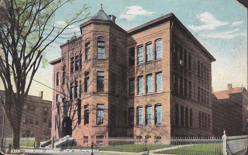 Webster School New Haven Connecticut CT, 1908 Vintage Postcard - 5416