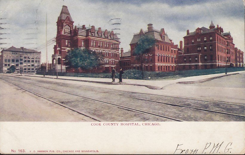 Cook County Hospital Chicago Illinois IL, 1907 Vintage Postcard - 5418