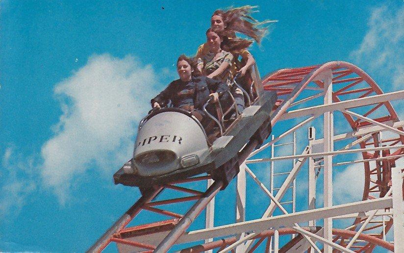 Jet Star Roller Coaster at Santa Cruz California CA, 1974 Chrome Postcard - 5386