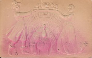 Thanksgiving Greetings Bas Relief 1907 Vintage Postcard - 5391