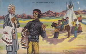 All The Chief Does is Fish, L.H. Larsen Linen Postcard - 5393