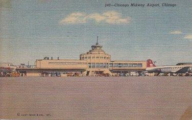Chicago Midway Airport Illinois IL Linen Postcard - 5455