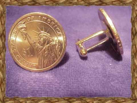 coin jewelry~NEW DOLLAR CUFFLINKS~GOLD LADY LIBERTY