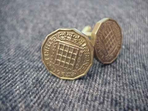 CUFFLINKS ~RARE VINTAGE BRITISH THREEPENNY BITS~gates
