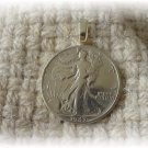 COIN JEWELRY~WALKING LIBERTY  PENDANT on sterling chain