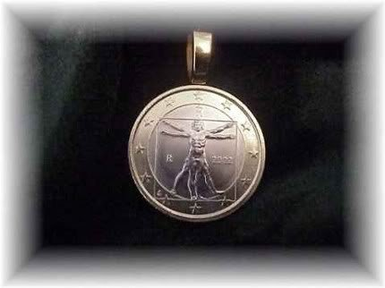 P'S  COIN JEWELRY~VITRUVIAN MAN PENDANT~UNCIRCULATED