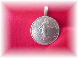 "P'S COIN JEWELRY~""FRENCH FRANC PENDANT NECKLACE"