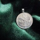 ~MAORI MASK PENDANT~NEW ZEALAND COIN ~sterling chain