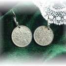 Lucky Wedding English Six pence 6p SILVER EARRINGS