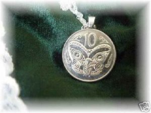 COIN JEWELRY~MAORI MASK PENDANT~NEW ZEALAND~Sterling