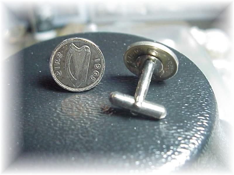 Coin jewelry~ Irish harp cufflinks or earrings~gift box