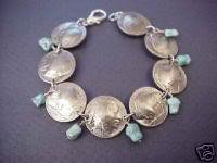 COIN JEWELRY~ INDIAN HEAD NICKEL  TURQUOISE BRACELET