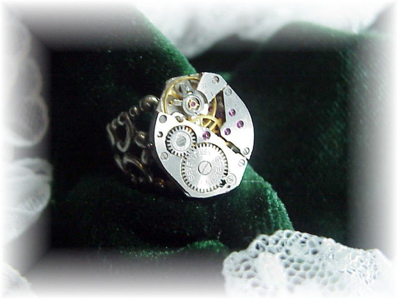 Steampunk silver watch adjustable ring victorian filigr