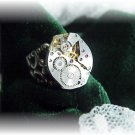 Steampunk silver watch adjustable ring victorian filigr