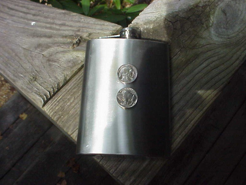 COIN COLLECTORS DOUBLE INDIAN HEAD BUFFALO NICKEL FLASK