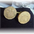 COIN CUFFLINKS English British Three pence~flowers
