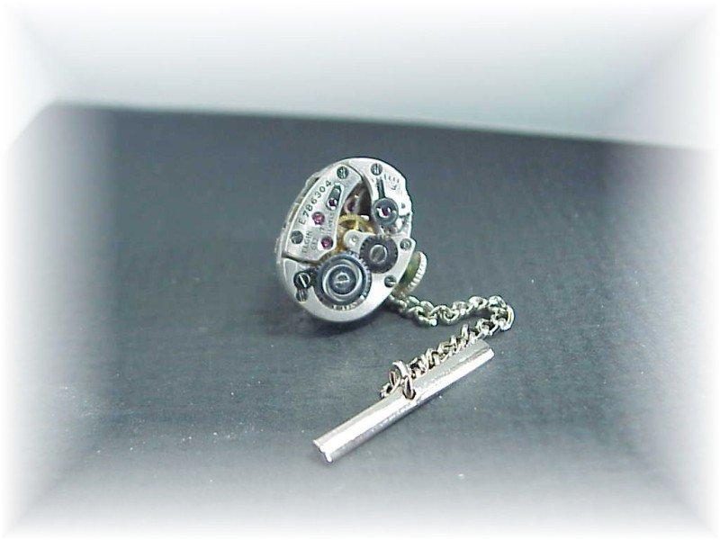 Steampunk Elgin jeweled watch tie tack  tac