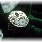 Steampunk silver watch adjustable bronze ring gift box