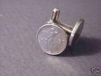 CUFFLINKS~Naked Blacksmith Italian LIra Lire small coin