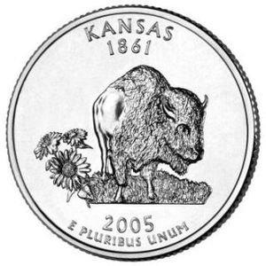 Cufflinks   Kansas  State Quarter 25c USA Coin - New Cuffl  FREE SHIPPING