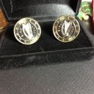 P'S JEWELRY~IRISH ONE EURO HARP CUFFLINKS~UNCIRCULATED COINS Free shipping