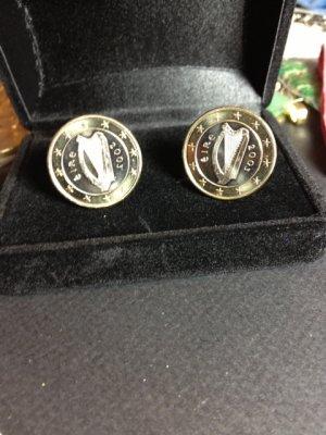P'S JEWELRY~IRISH ONE EURO HARP CUFFLINKS~UNCIRCULATED COINS Free shipping