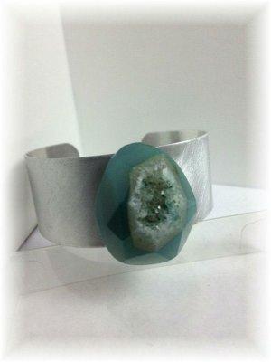 Seafoam blue with stars geode druzy stone. Magnificent silvery cuff bracelet