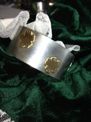 STERLING SILVER and gold flowers CUFF BRACELET