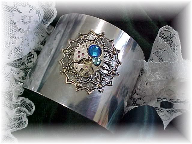 Steampunk silver cuff bracelet with watch movement vintage victorian style