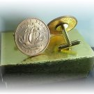 COIN CUFFLINKS ~BRITIAN ENGLAND  HALF PENNY UNCIRCULATED Free shipping and boxed