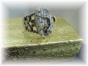 Steampunk silver  watch adjustable ring victorian oval 18 jewels  Boxed free