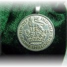 English British  shilling pendant~coin~sterling chain~Lion and the Crown  Boxed